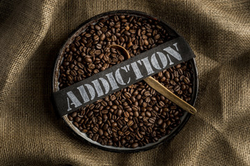 Coffee addiction on red background