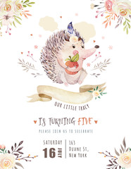 Fototapete - Cute watercolor bohemian baby hedgehog animal poster for nursary with bouquets, alphabet woodland isolated forest illustration for children. Baby shower animals invitation