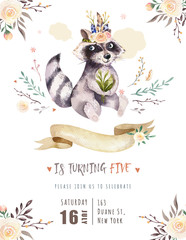 Fototapete - Cute watercolor bohemian baby raccoon animal poster for nursary with bouquets, children alphabet woodland isolated forest illustration. Baby shower animals invitation