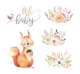 Wall Mural - Cute watercolor bohemian baby squirrel animal poster for nursary with bouquets, alphabet woodland isolated forest illustration for children. Baby shower animals invitation