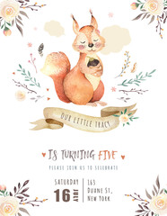 Wall Mural - Cute watercolor bohemian baby squirrel animal poster for nursary, alphabet woodland isolated forest illustration for children. Baby shower animals invitation