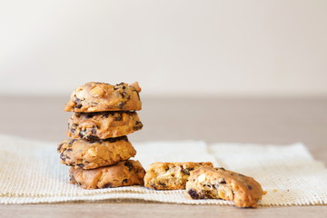pile of bakery cookies on wooden table.