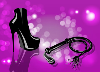 Fetish and bondage stuff for role playing and BDSM: high heels shoes, leather whip, vector isolated or pink blurry background