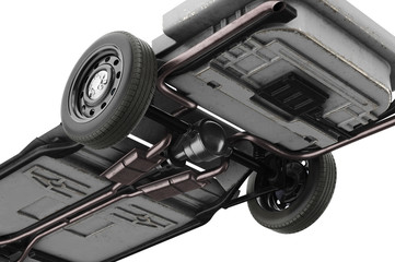 Chassis frame car with wheel, close, bottom view. 3D rendering