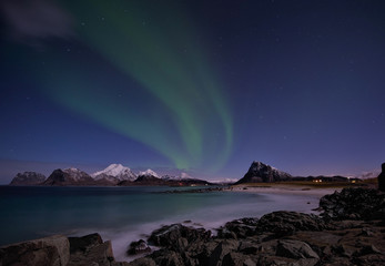 Northern lights at Sandnes in Flakstad,Lofoten