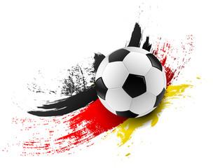 Fußball mit Deutschland Flagge Farben Pinsel Striche