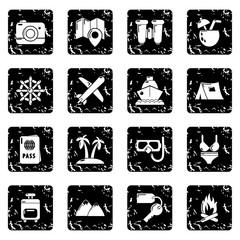 Travel summer icons set grunge vector