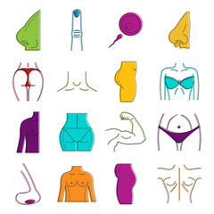 Human body icon set, color outline style
