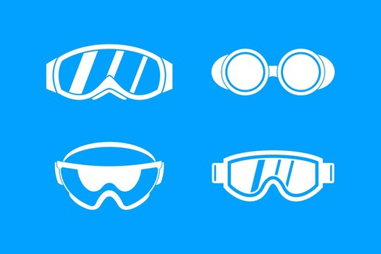Protect glasses icon blue set vector