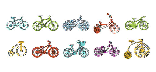 Bike icon set, color outline style