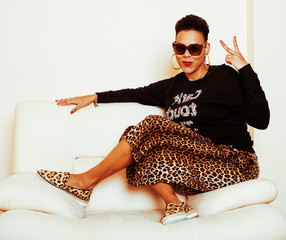pretty stylish african american big mama woman well dressed. swa