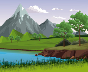 Beautiful nature landscape with lake vector illustration graphic design