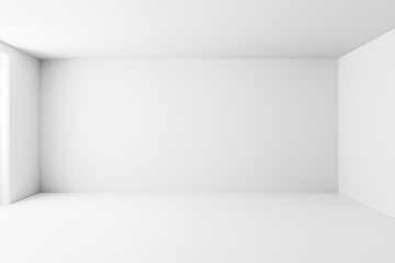 Blank white interior room background ,empty white walls corner and white wood floor contemporary,3D...