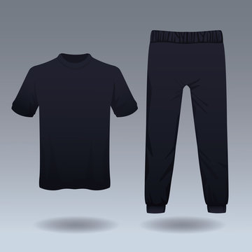 Tshirt and pants sport wear for male vector illustration graphic design