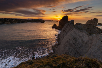 Sunset in the Urros de Liencres. Cantabria. Spain.