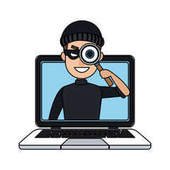 Hacker searching on laptop cartoon vector illustration graphic design