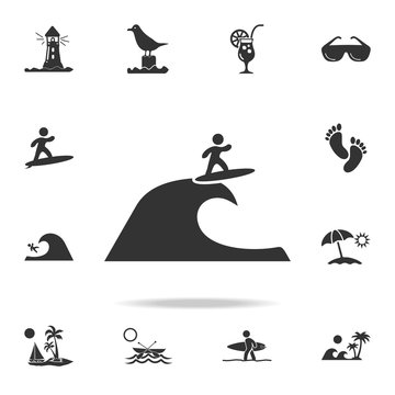 surfer on the wave icon. Detailed set of beach holidays icons. Premium quality graphic design. One of the collection icons for websites, web design, mobile app