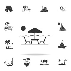 table and chairs under sun umbrella icon. Detailed set of beach holidays icons. Premium quality graphic design. One of the collection icons for websites, web design, mobile app