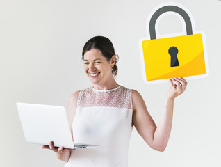People with cyber security concept