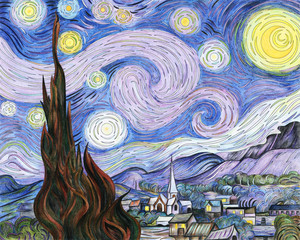 Fotorolgordijn Purper Van Gogh The Starry Night adult coloring page