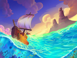 The Small Boat Caught in a Storm on the Sea with Fantastic, Realistic and Futuristic Style. Video Game's Digital CG Artwork, Concept Illustration, Realistic Cartoon Style Scene Design