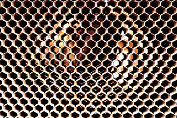 Vintage antique automotive radiator honeycomb with white oxidation and wear
