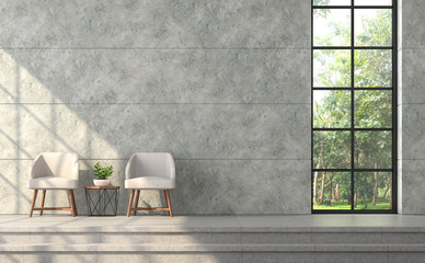 Wall Mural - Modern loft style living room 3d render.There are polished concrete wall with groove,concrete tile floor,furnished with beige fabric chair,There are black frame window overlooking to nature
