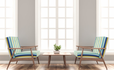 Scandinavian house living room 3d render.The Rooms have wooden floors and gray walls.Furnished with wood and colorful fabric seat. There are white frame window overlooking to outsite.
