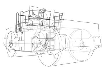 Asphalt compactor outlined vector
