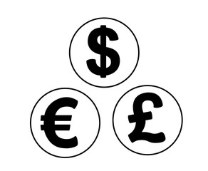 set of currency symbols in the form coins