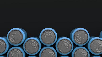 Big blue soda cans on black background