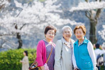 日本人シニア女性 アウトドア 春