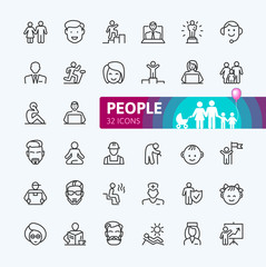 People - minimal thin line web icon set. Outline icons collection. Simple vector illustration.