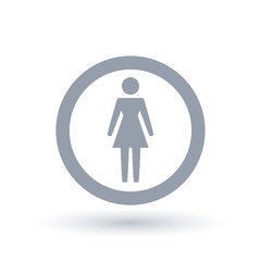 Woman icon in circle outline. Female gender symbol. Lady sign. Vector illustration.