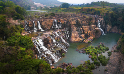 Pongour Falls aerial view from above, Da Lat, Vietnam