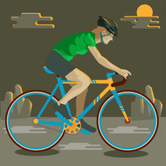 bicycle vector illustration mountain Cartoon character
