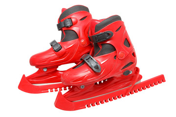 skates in red covers isolated on white background