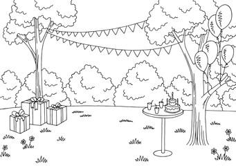 Children party graphic black white landscape sketch illustration vector