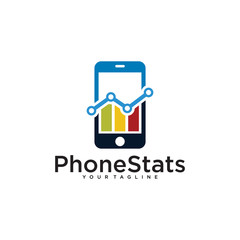 phone stats logo design template isolated