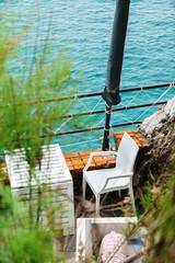 outdoor cafe near sea