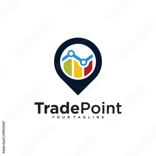 stats point logo pin design template stock image and royalty free