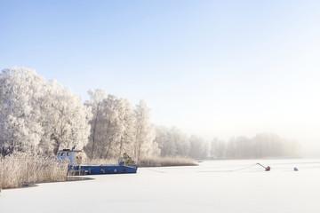View of frozen lake