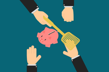 Executive hands prevent account holder from withdrawing their savings fund, a piggy bank, personal finance concept