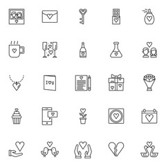 Love outline icons set. linear style symbols collection, line signs pack. vector graphics. Set includes icons as Couple picture with heart, Love letter with heart, Chocolate bar, Perfume , cup drink