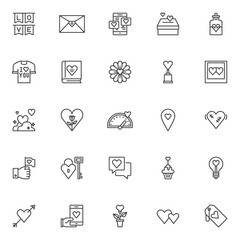 Love and Valentine's day outline icons set. linear style symbols collection, line signs pack. vector graphics. Set includes icons as Party love flags, Hearts with donate box, Elixir of love drink