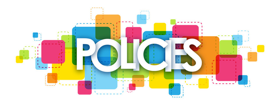 POLICIES colourful letters icon