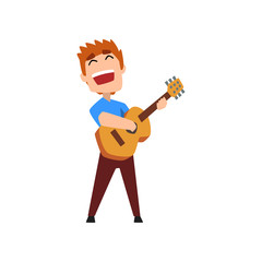Male musician playing classical guitar and singing, hobby or profession vector Illustration on a white background