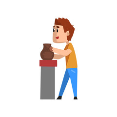 Ceramist man character making ceramic pot, craft hobby or profession vector Illustration on a white background