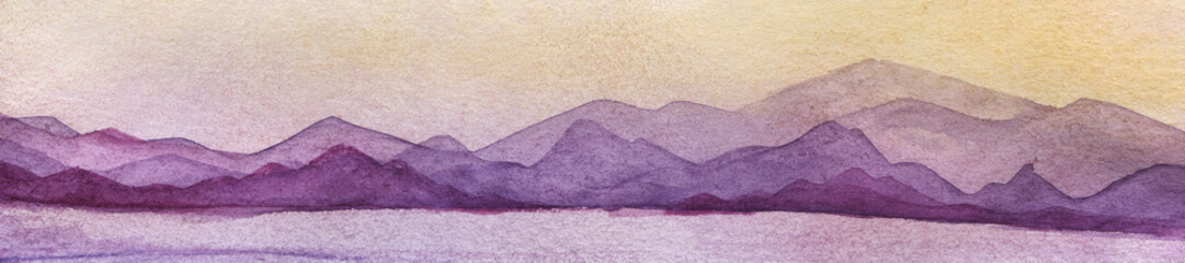 Sunset landscape with sea and mountains, in a pink, blue, yellow, violet, lilac pastel colors. Hand drawn real watercolor illustration.