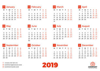 Simple calendar for 2019 year. Vector design print template. Week starts on Sunday